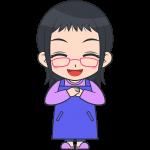 喜ぶメガネお母さん【無料イラスト・フリー素材】