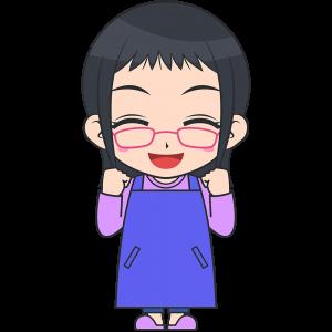 ガッツポーズをするメガネお母さん【無料イラスト・フリー素材】