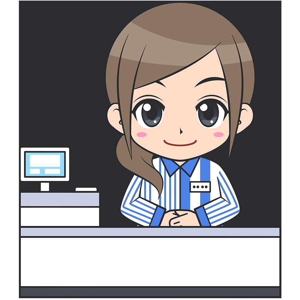 コンビニのレジ店員(ローソン-1)【無料イラスト・フリー素材】