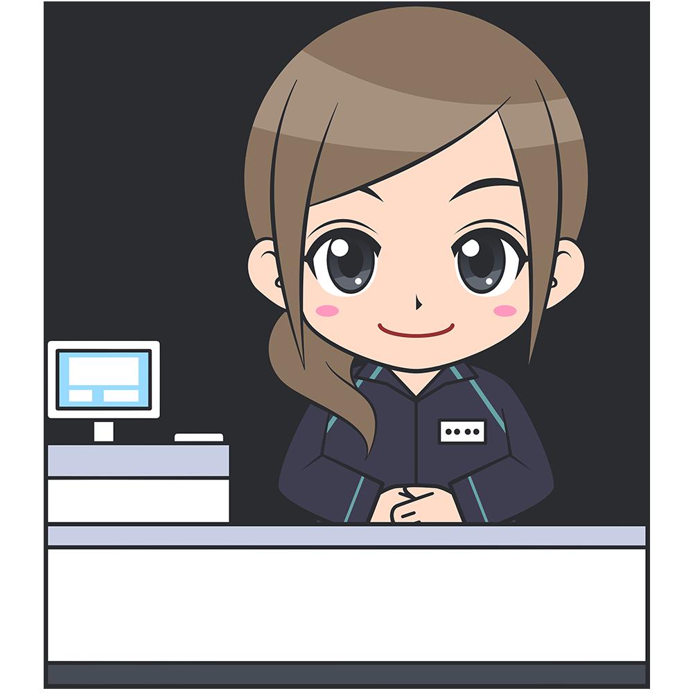 コンビニのレジ店員(ファミリーマート-1)【無料イラスト・フリー素材】