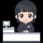コンビニのレジ店員(ファミリーマート-2)【無料イラスト・フリー素材】