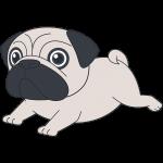 走るパグ(犬)【無料イラスト・フリー素材】