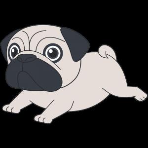 走るパグ犬無料イラストフリー素材