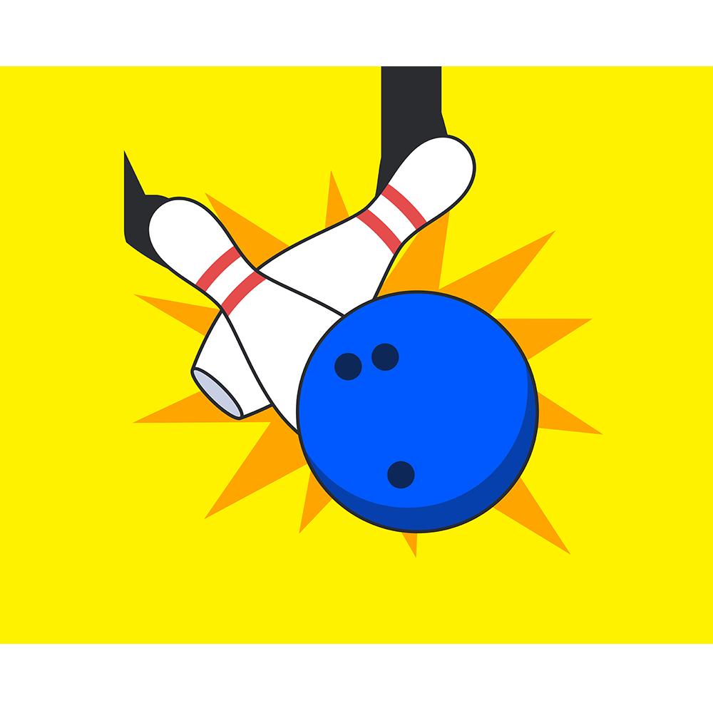 エフェクト付きボーリングの球とピン【無料イラスト・フリー素材】
