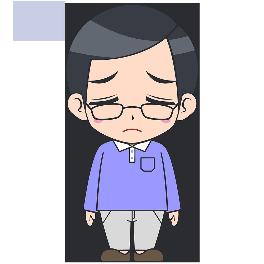 がっかりするメガネお父さんの手描き風イラスト【無料・フリー】