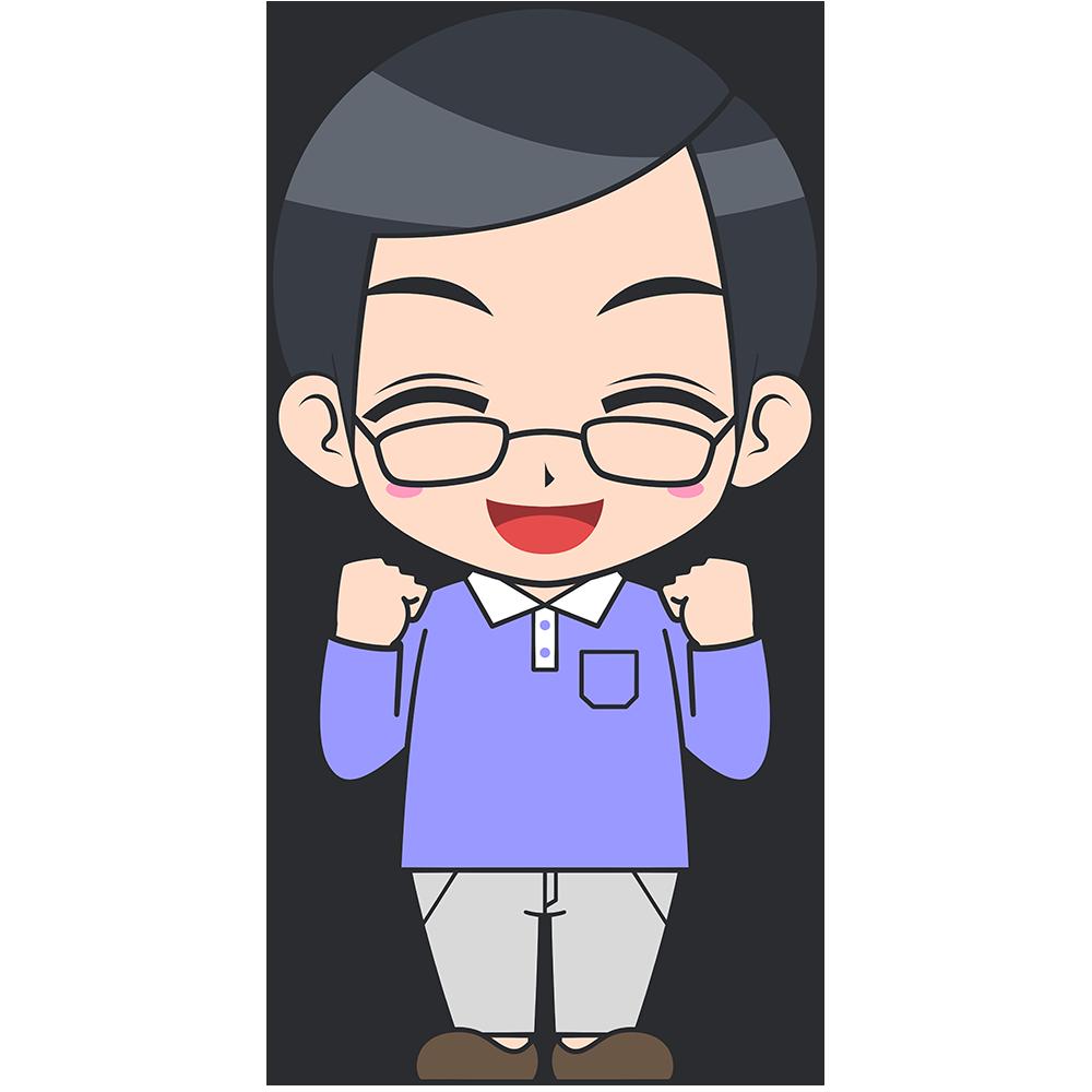ガッツポーズをするメガネお父さんの手描き風イラスト【無料・フリー】