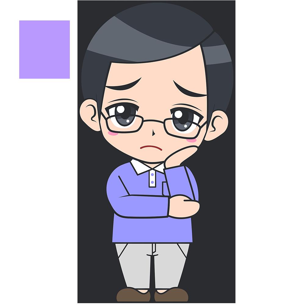 考えるメガネお父さんの手描き風イラスト【無料・フリー】
