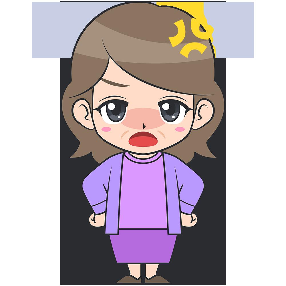 怒ったおばさん【無料イラスト・フリー素材】
