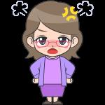 怒ったメガネおばさん【無料イラスト・フリー素材】