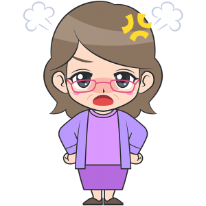 怒ったメガネおばさん