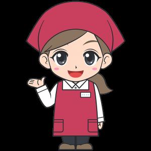 手を上げるスーパーの女性店員【無料イラスト・フリー素材】