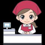レジをするスーパーの女性店員【無料イラスト・フリー素材】