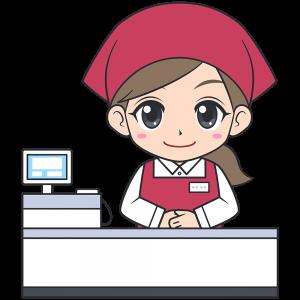 レジをするスーパーの女性店員