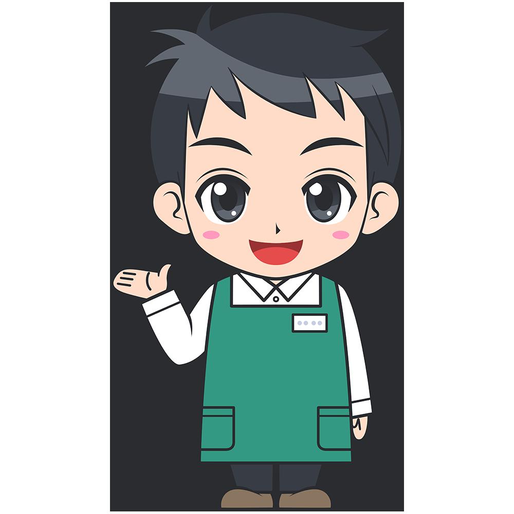 手を上げるスーパーの男性店員【無料イラスト・フリー素材】