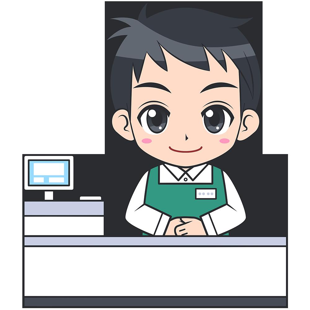 レジをするスーパーの男性店員【無料イラスト・フリー素材】