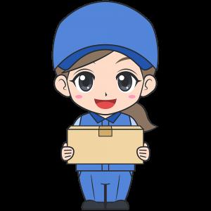 引越し業者の女性スタッフ無料イラストフリー素材