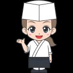 和食の女性料理人【無料イラスト・フリー素材】