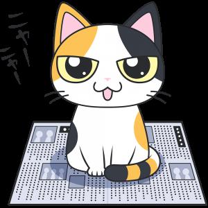 新聞紙に乗る三毛猫【無料イラスト・フリー素材】