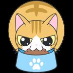 エサを食べる茶白猫のイラスト【無料・フリー】