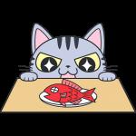 魚を狙うサバトラ猫【無料イラスト・フリー素材】