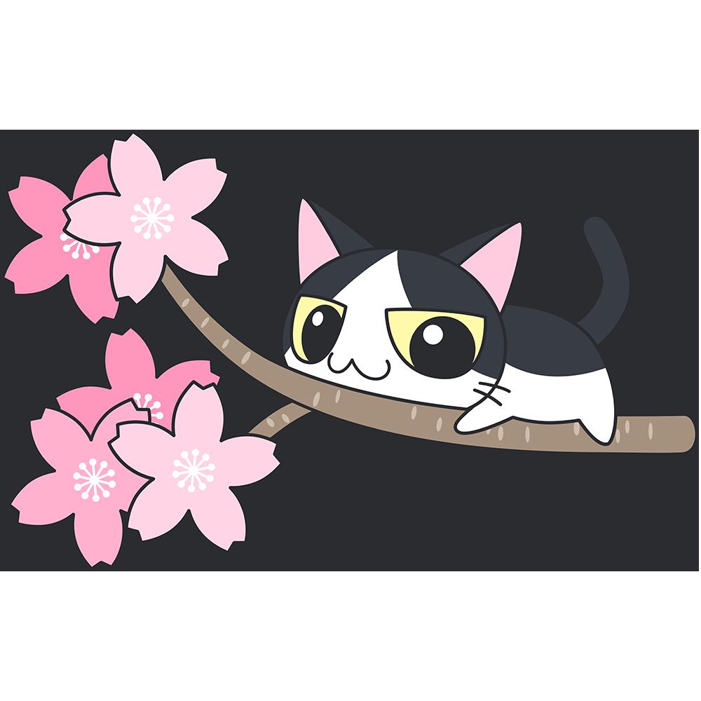 桜の木でくつろぐ白黒猫無料イラストフリー素材