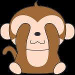見ザル(猿)のイラスト【無料・フリー】