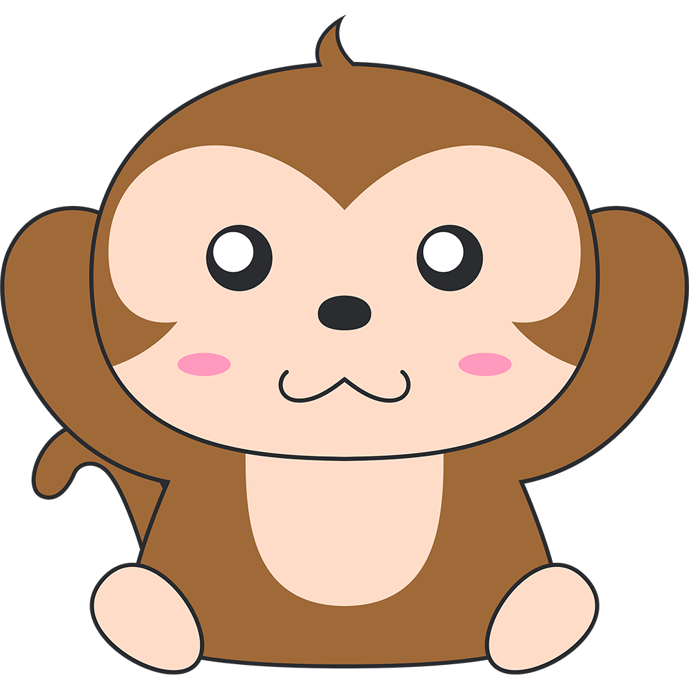 聞かザル(猿)のイラスト【無料・フリー】