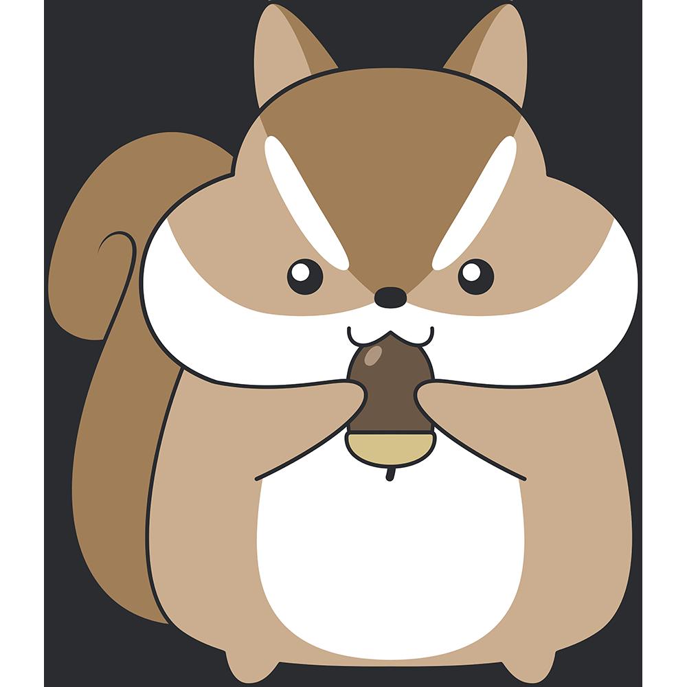 ドングリを食べるシマリスのイラスト【無料・フリー】