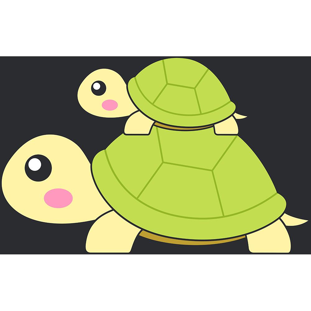 親子リクガメ(亀)のイラスト【無料・フリー】