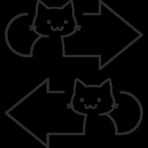 猫矢印のイラスト2無料フリー