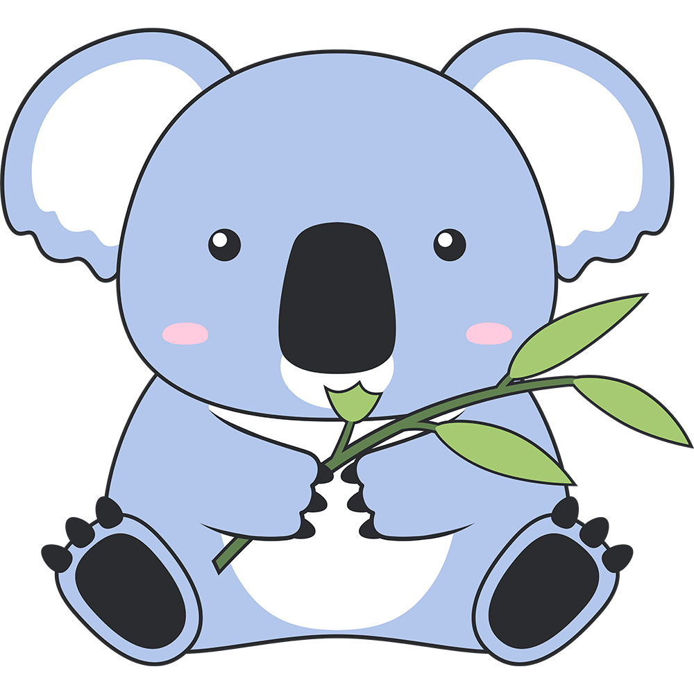 ユーカリを食べるコアラのイラスト【無料・フリー】