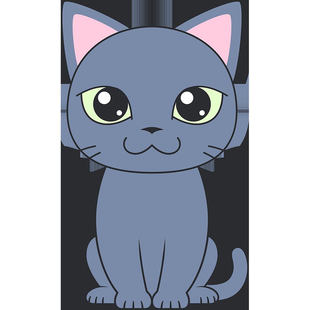 ロシアンブルー(猫)のイラスト【無料・フリー】