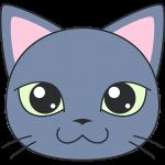 ロシアンブルー(猫)の顔イラスト【無料・フリー】