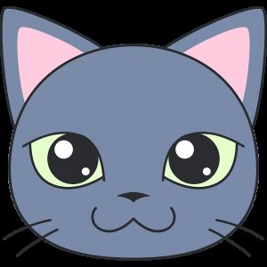 ロシアンブルー 猫 の顔イラスト 無料 フリー