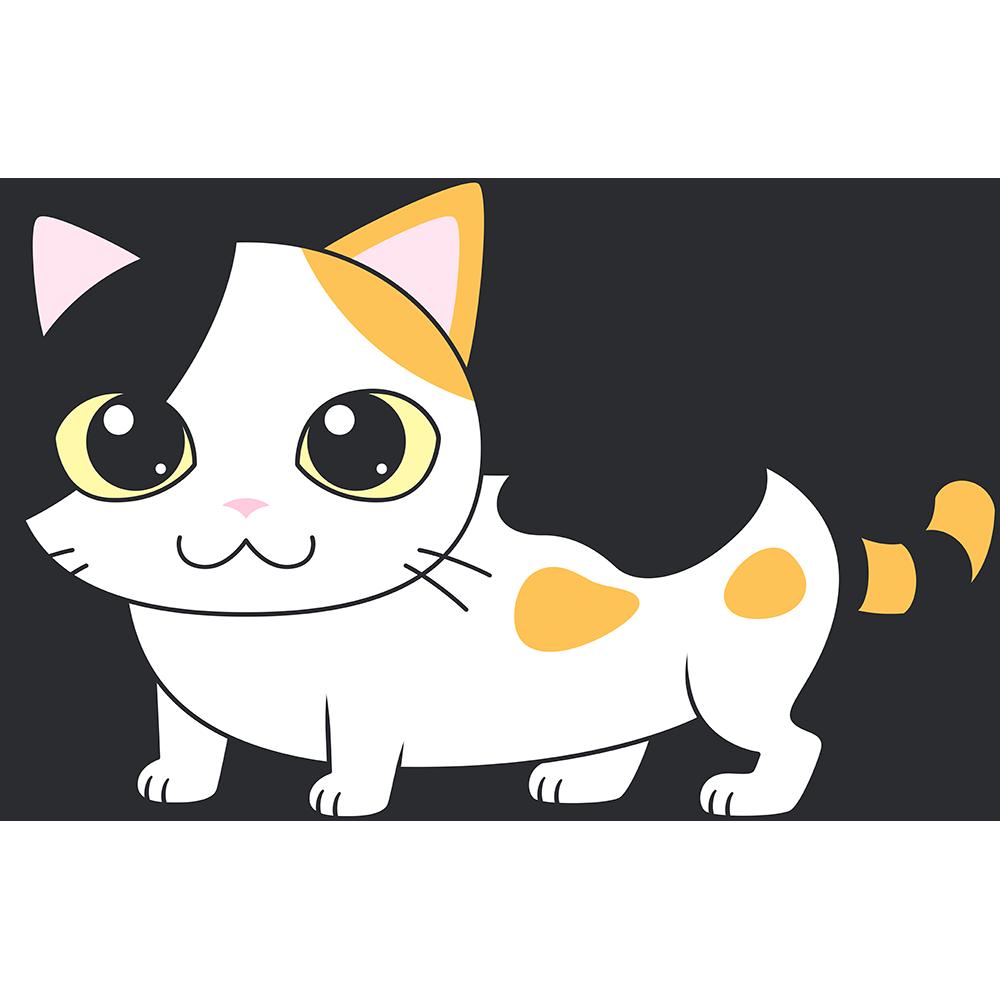 三毛マンチカン(猫)のイラスト【無料・フリー】