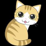 茶白猫の振り向き姿のイラスト【無料・フリー】