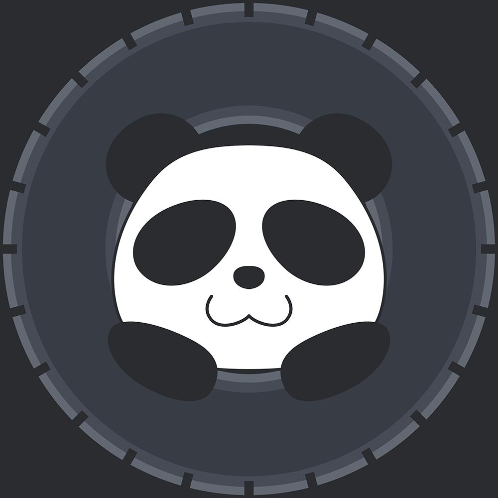 タイヤで遊ぶパンダのイラスト【無料・フリー】