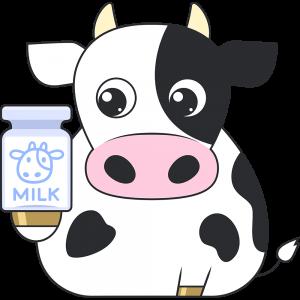 牛と牛乳のイラスト無料フリー