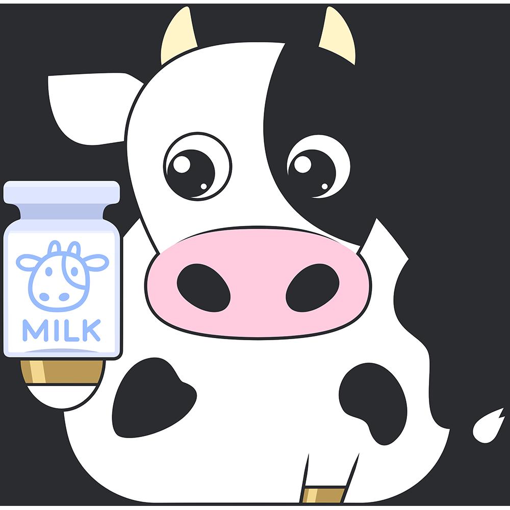牛と牛乳のイラスト【無料・フリー】