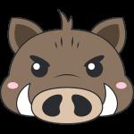 イノシシ(猪)の顔イラスト【無料・フリー】