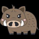かわいいイノシシ(猪)のイラスト【無料・フリー】