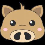 ウリ坊(猪)の顔イラスト【無料・フリー】