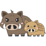 イノシシ(猪)の親子のイラスト【無料・フリー】