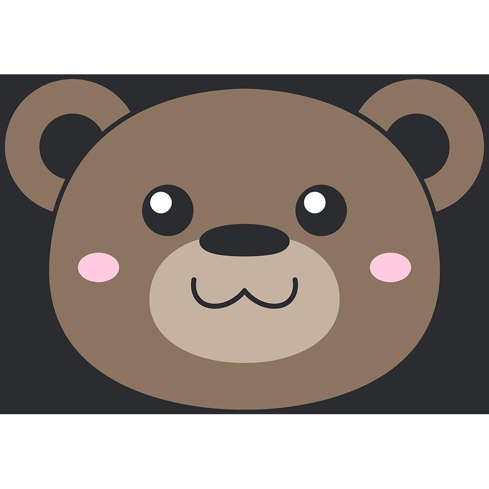 ヒグマ(熊)の顔イラスト【無料・フリー】