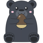 ドングリを食べるツキノワグマ(熊)のイラスト【無料・フリー】