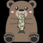 魚を食べるヒグマ(熊)のイラスト【無料・フリー】