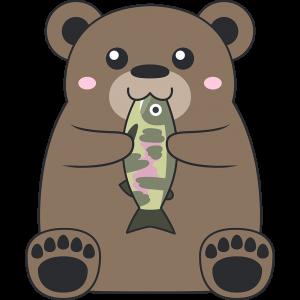 魚を食べるヒグマ(熊)
