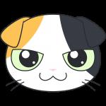 スコティッシュフォールド(三毛猫)の顔イラスト【無料・フリー】