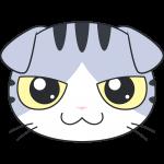 スコティッシュフォールド(サバ白猫)の顔イラスト【無料・フリー】