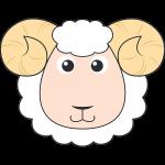ヒツジ(羊)の顔イラスト【無料・フリー】